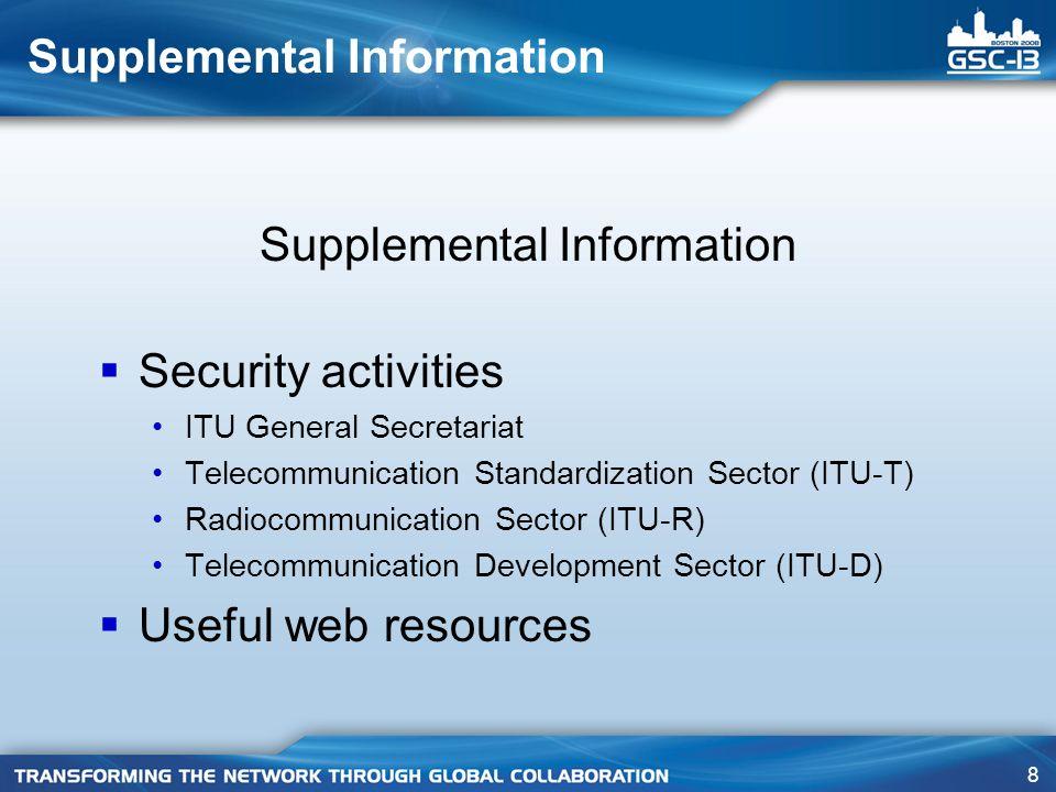 9 Supplemental Information ITU General Secretariat Corporate Strategy Division