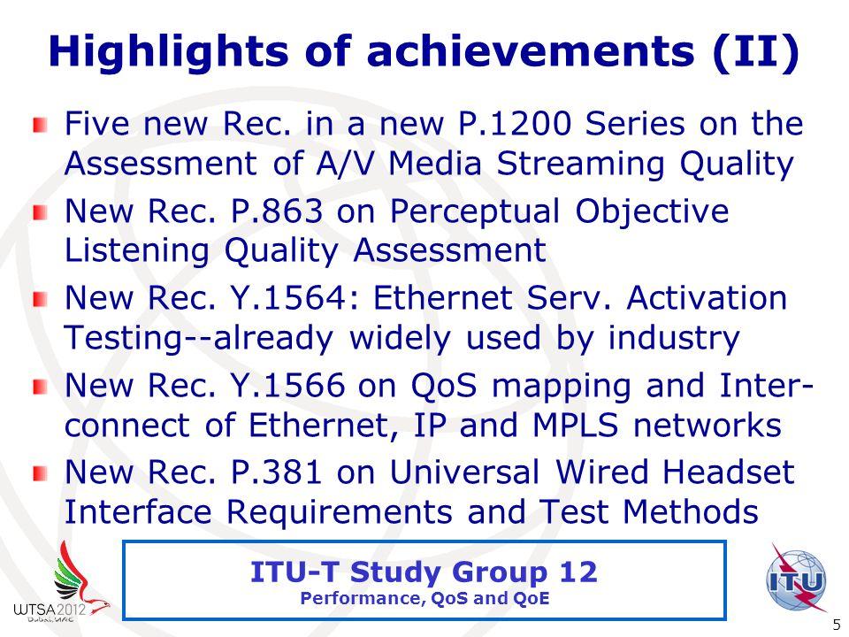 International Telecommunication Union 5 ITU-T Study Group 12 Performance, QoS and QoE Highlights of achievements (II) Five new Rec.