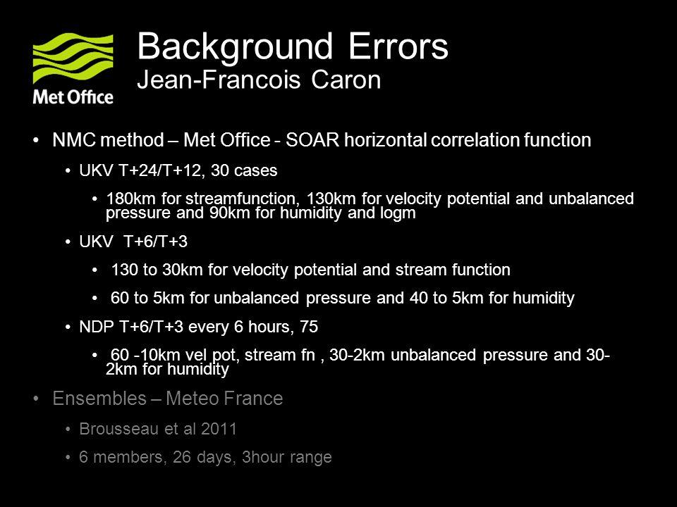 Background Errors Jean-Francois Caron NMC method – Met Office - SOAR horizontal correlation function UKV T+24/T+12, 30 cases 180km for streamfunction,