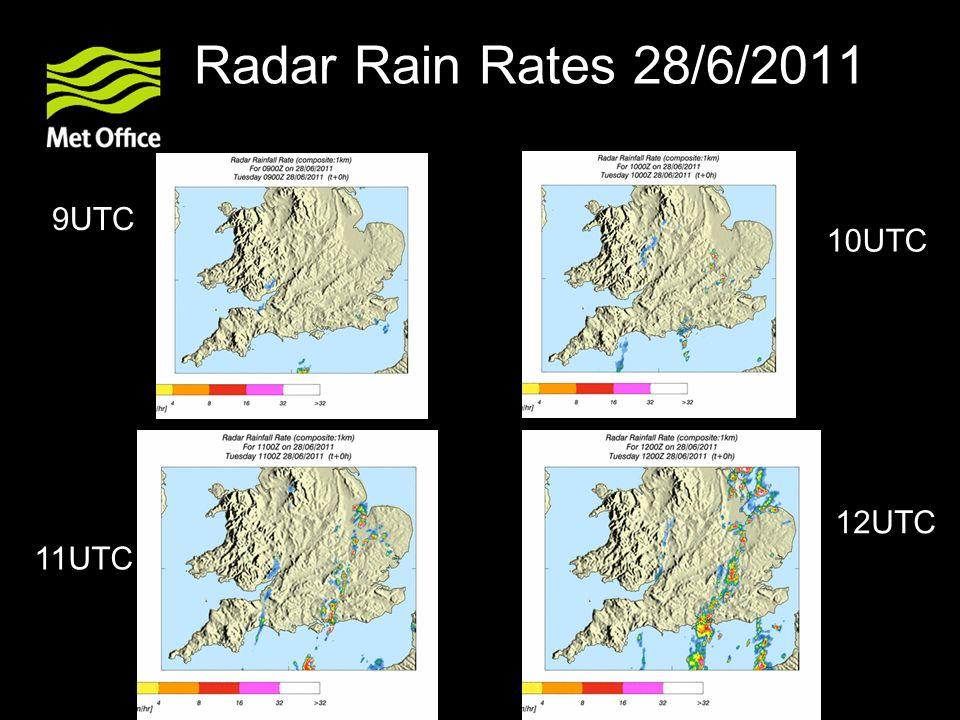 Radar Rain Rates 28/6/2011 9UTC 11UTC 10UTC 12UTC
