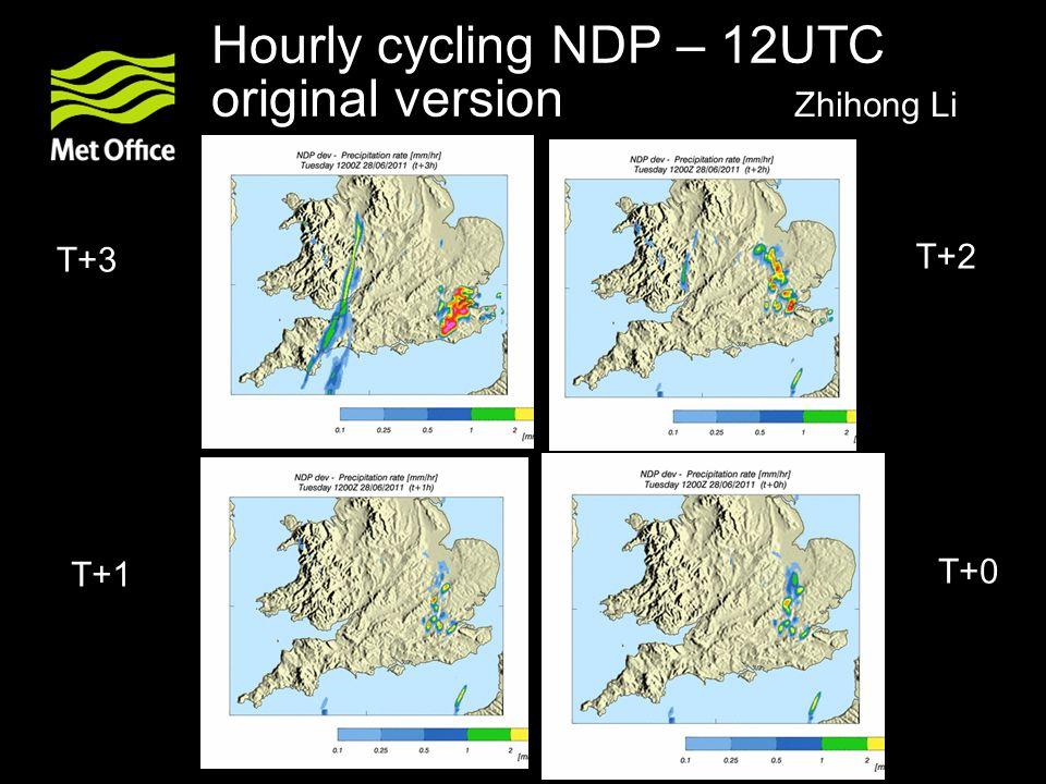 Hourly cycling NDP – 12UTC original version T+2 T+3 T+1 T+0 Zhihong Li