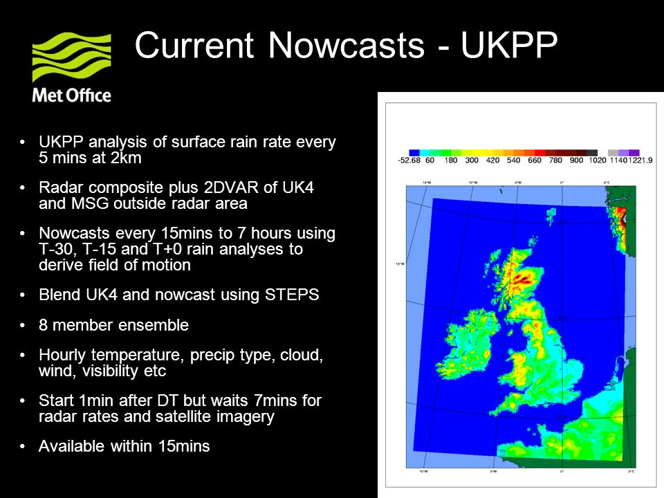 Current Nowcasts - UKPP UKPP analysis of surface rain rate every 5 mins at 2km Radar composite plus 2DVAR of UK4 and MSG outside radar area Nowcasts e