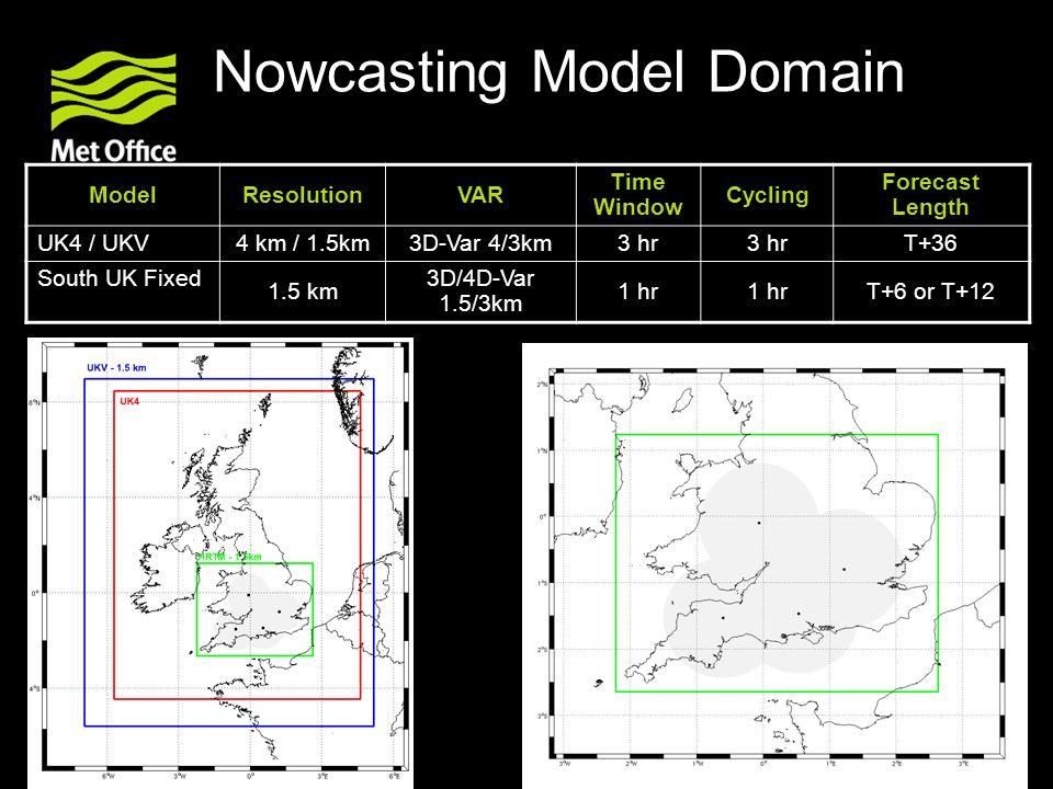 © Crown copyright Met Office Nowcasting Model Domain ModelResolutionVAR Time Window Cycling Forecast Length UK4 / UKV 4 km / 1.5km3D-Var 4/3km3 hr T+3