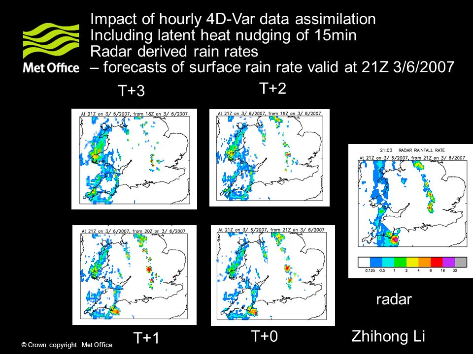 © Crown copyright Met Office Impact of hourly 4D-Var data assimilation Including latent heat nudging of 15min Radar derived rain rates – forecasts of