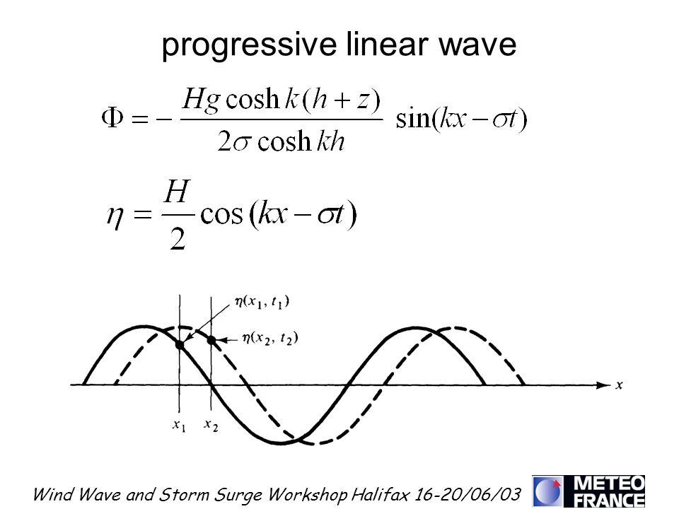 Wind Wave and Storm Surge Workshop Halifax 16-20/06/03 progressive linear wave