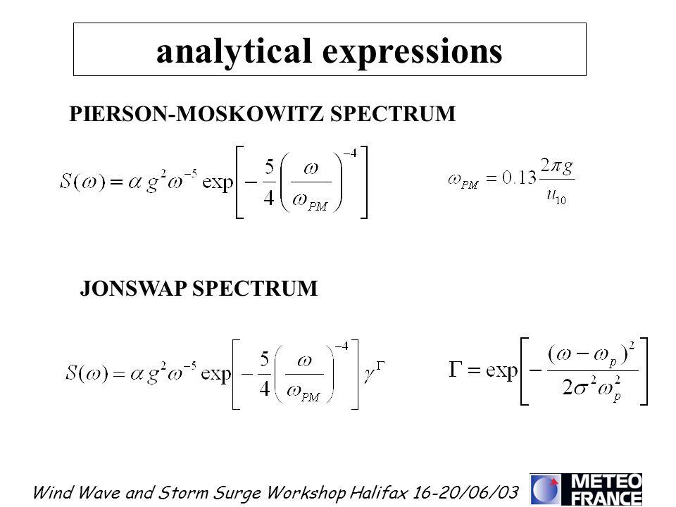 Wind Wave and Storm Surge Workshop Halifax 16-20/06/03 analytical expressions PIERSON-MOSKOWITZ SPECTRUM JONSWAP SPECTRUM