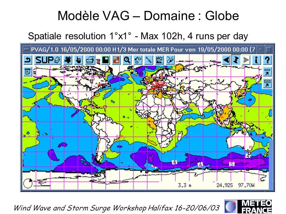 Wind Wave and Storm Surge Workshop Halifax 16-20/06/03 Spatiale resolution 1°x1° - Max 102h, 4 runs per day Modèle VAG – Domaine : Globe