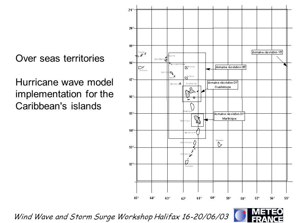 Wind Wave and Storm Surge Workshop Halifax 16-20/06/03 Over seas territories Hurricane wave model implementation for the Caribbean's islands