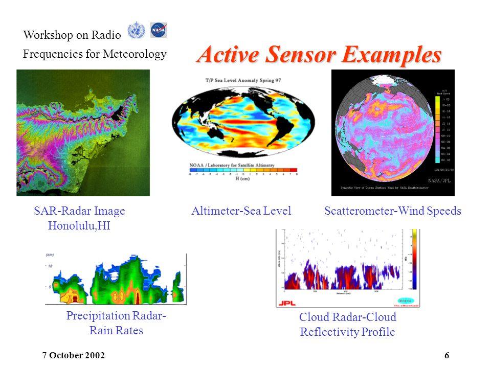 Workshop on Radio Frequencies for Meteorology 7 October 20026 Active Sensor Examples SAR-Radar Image Honolulu,HI Altimeter-Sea Level Cloud Radar-Cloud
