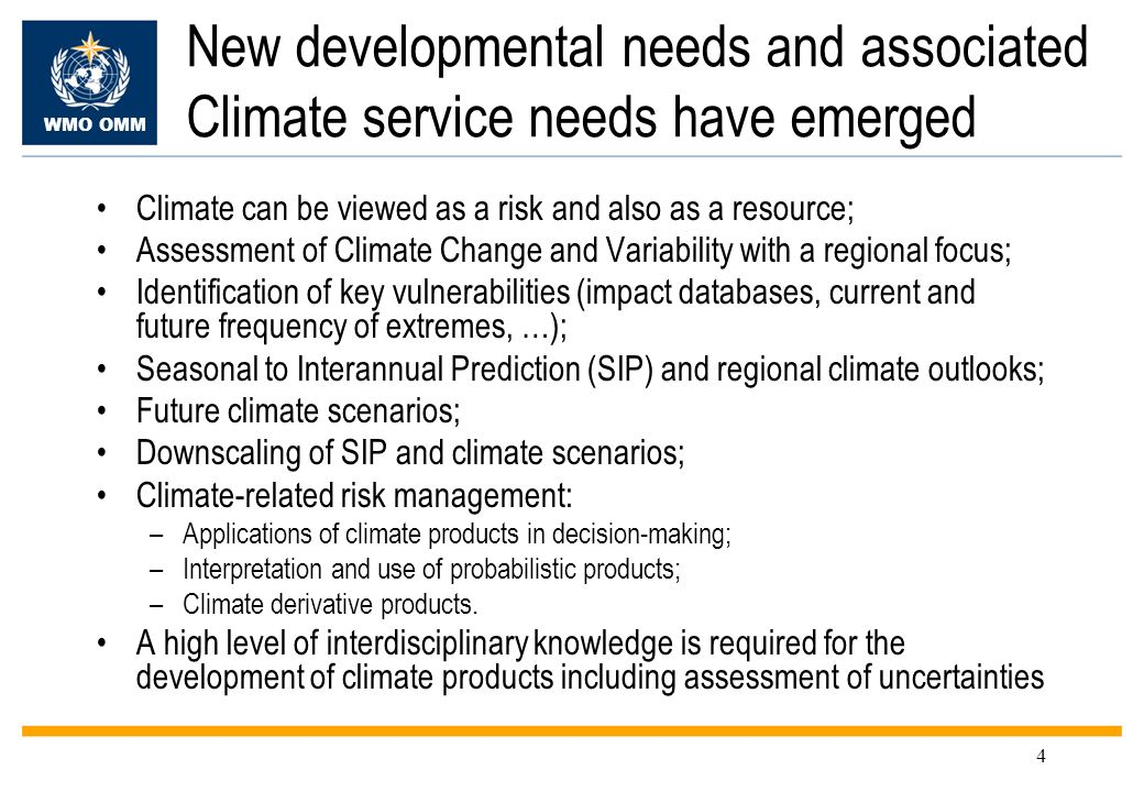 WMO OMM 15 Regional Climate Centres (RCCs) RCCs will be Centres of Excellence, designated by CBS and CCl, to perform regional-scale climate functions, including: –Operational LRF and Climate Monitoring –Coordination between RCCs, GPCs and NMHSs in the region –Data services –Climate Applications –Training and capacity building –Research and Development RCCs will be complementary to and supportive of NMHSs, which will deliver all Warnings and national-scale products Establishment of RCCs will be initiated by Regional Associations, based on regional needs and priorities RAs will ensure guidance for and coordination between RCCs