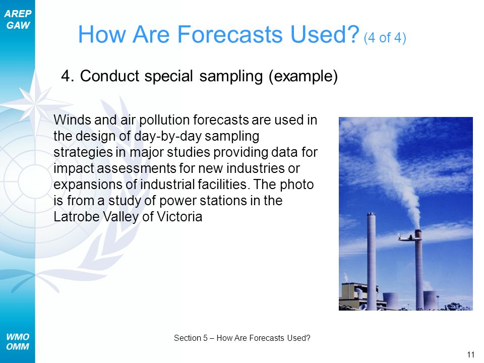 AREP GAW Section 5 – How Are Forecasts Used. 11 How Are Forecasts Used.