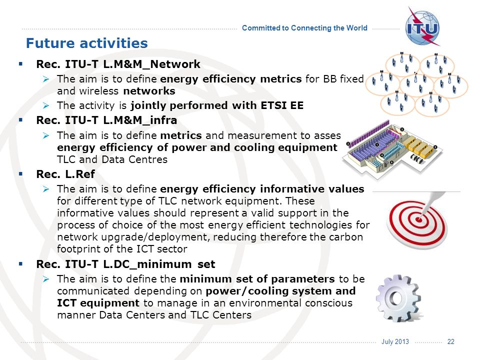 July 2013 Committed to Connecting the World Future activities Rec. ITU-T L.M&M_Network The aim is to define energy efficiency metrics for BB fixed and