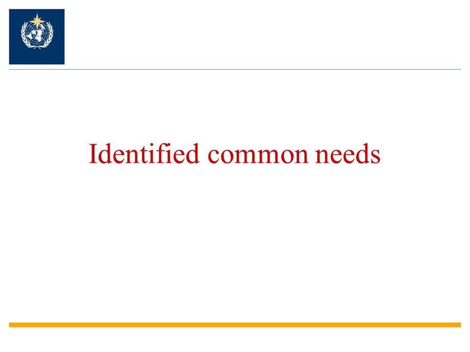 Identified common needs