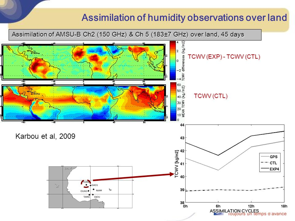 Assimilation of humidity observations over land Assimilation of AMSU-B Ch2 (150 GHz) & Ch 5 (183±7 GHz) over land, 45 days TCWV (EXP) - TCWV (CTL) TCWV (CTL) Karbou et al, 2009