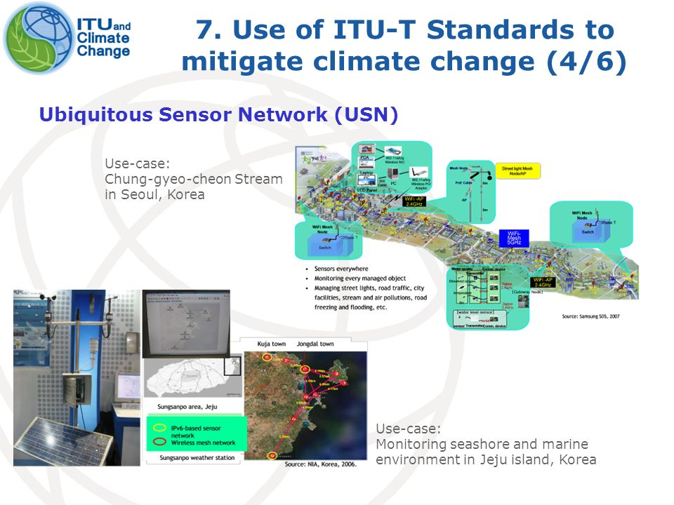 7. Use of ITU-T Standards to mitigate climate change (4/6) Ubiquitous Sensor Network (USN) Use-case: Chung-gyeo-cheon Stream in Seoul, Korea Use-case: