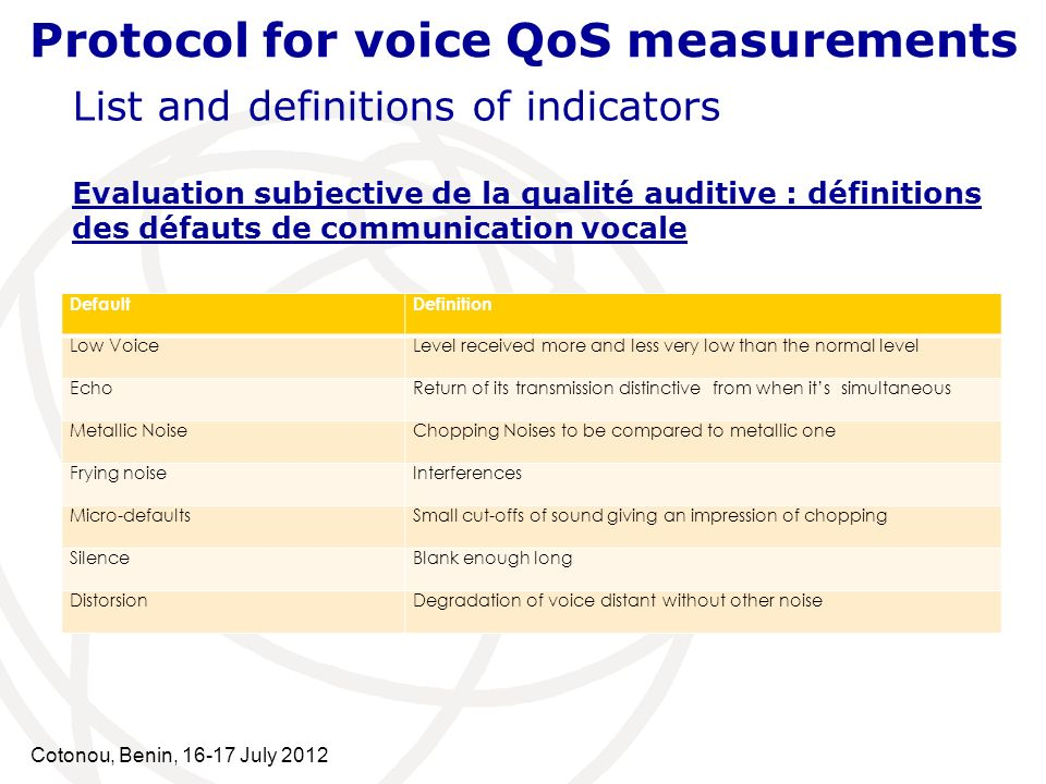 Cotonou, Benin, 16-17 July 2012 Protocol for voice QoS measurements List and definitions of indicators Evaluation subjective de la qualité auditive : définitions des défauts de communication vocale DefaultDefinition Low VoiceLevel received more and less very low than the normal level EchoReturn of its transmission distinctive from when its simultaneous Metallic NoiseChopping Noises to be compared to metallic one Frying noiseInterferences Micro-defaultsSmall cut-offs of sound giving an impression of chopping SilenceBlank enough long DistorsionDegradation of voice distant without other noise