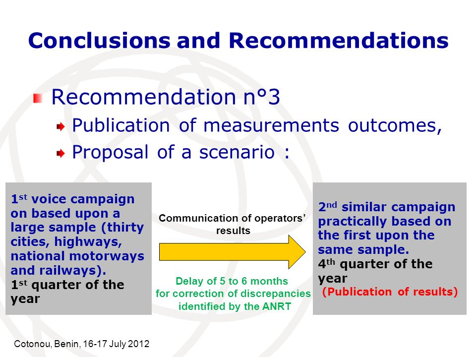Cotonou, Benin, 16-17 July 2012 Conclusions and Recommendations Recommendation n°3 Publication of measurements outcomes, Proposal of a scenario : 1 st voice campaign on based upon a large sample (thirty cities, highways, national motorways and railways).