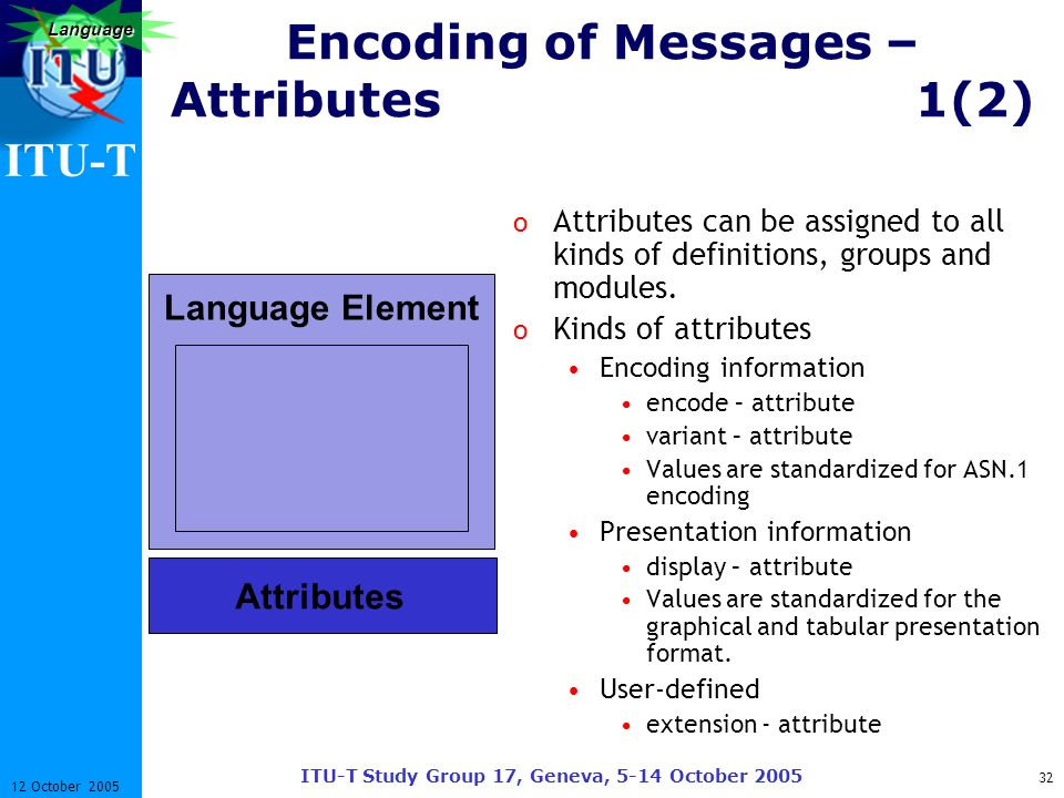 ITU-T ITU-T Study Group 17, Geneva, 5-14 October 2005 32 12 October 2005 Language Encoding of Messages – Attributes1(2) o Attributes can be assigned t