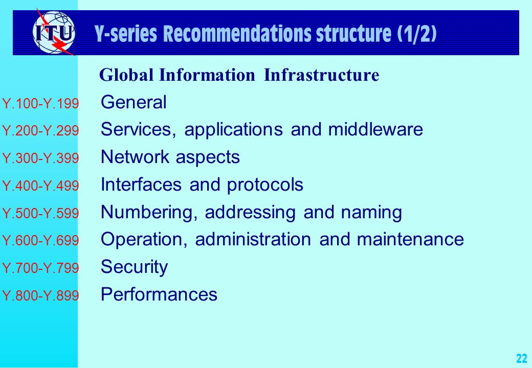 22 Y-series Recommendations structure (1/2) Global Information Infrastructure Y.100-Y.199 General Y.200-Y.299 Services, applications and middleware Y.
