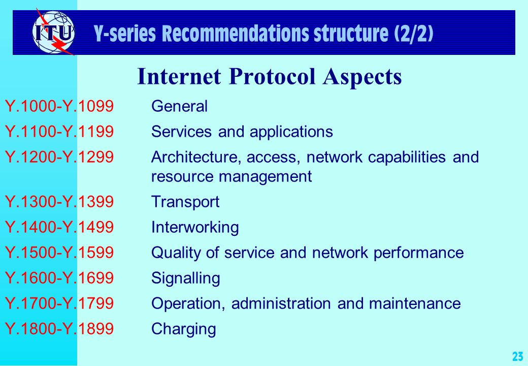 23 Y-series Recommendations structure (2/2) Internet Protocol Aspects Y.1000-Y.1099General Y.1100-Y.1199Services and applications Y.1200-Y.1299Architecture, access, network capabilities and resource management Y.1300-Y.1399Transport Y.1400-Y.1499Interworking Y.1500-Y.1599Quality of service and network performance Y.1600-Y.1699Signalling Y.1700-Y.1799Operation, administration and maintenance Y.1800-Y.1899Charging