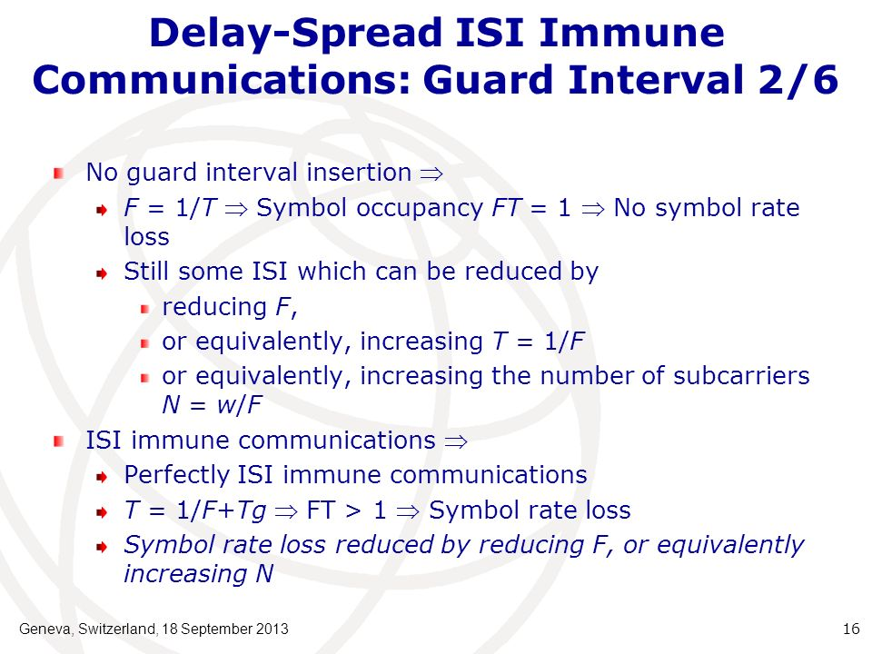 Delay-Spread ISI Immune Communications: Guard Interval 2/6 No guard interval insertion F = 1/T Symbol occupancy FT = 1 No symbol rate loss Still some