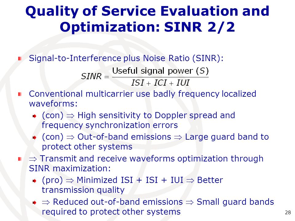 Quality of Service Evaluation and Optimization: SINR2/2 Signal-to-Interference plus Noise Ratio (SINR): Conventional multicarrier use badly frequency