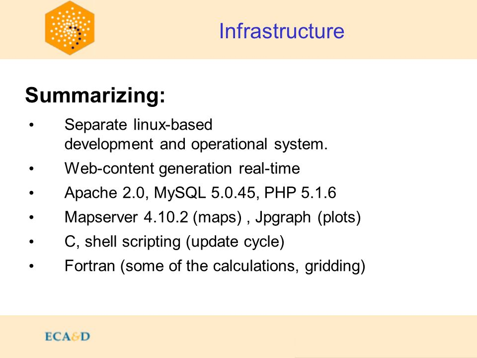Separate linux-based development and operational system. Web-content generation real-time Apache 2.0, MySQL 5.0.45, PHP 5.1.6 Mapserver 4.10.2 (maps),