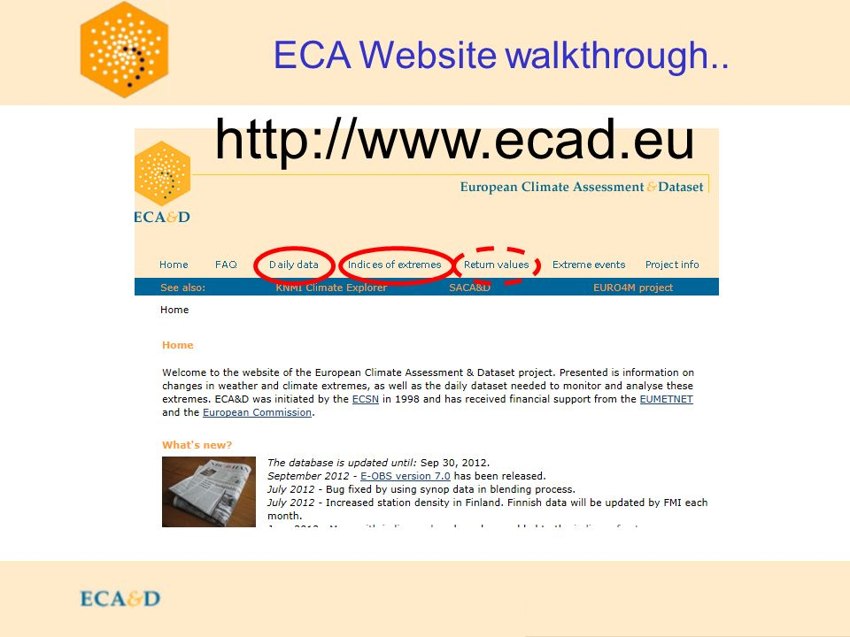 ECA Website walkthrough.. http://www.ecad.eu