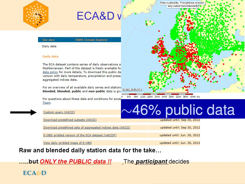2009 ECA&D walkthrough: Daily data Raw and blended daily station data for the take… …..but ONLY the PUBLIC data !! The participant decides