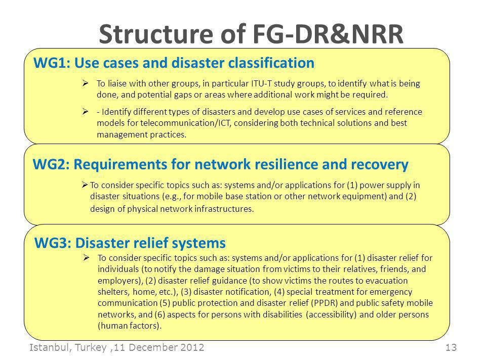 Istanbul, Turkey,11 December Structure of FG-DR&NRR WG1: Use cases and disaster classification To liaise with other groups, in particular ITU-T study groups, to identify what is being done, and potential gaps or areas where additional work might be required.