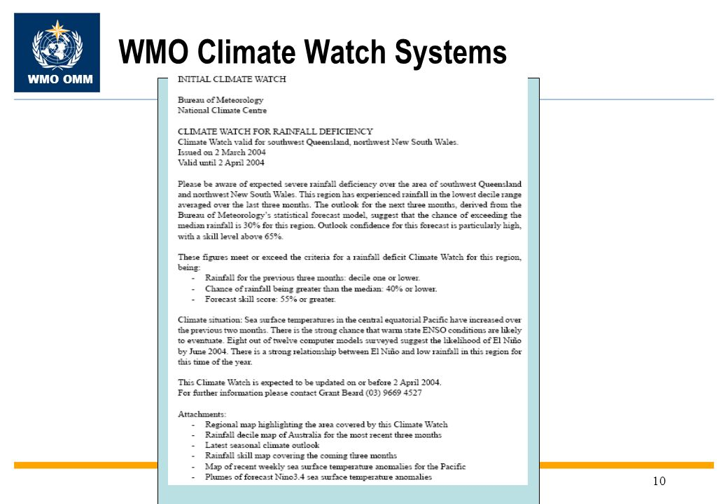 WMO OMM 10 WMO Climate Watch Systems