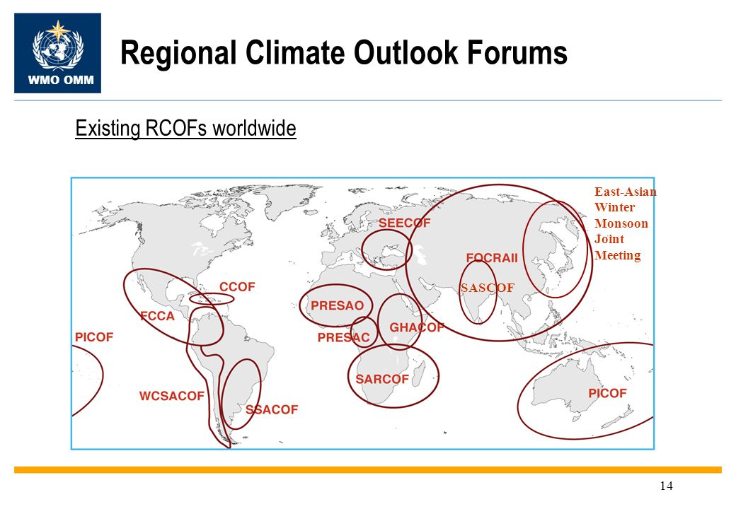 WMO OMM 14 Regional Climate Outlook Forums SASCOF East-Asian Winter Monsoon Joint Meeting Existing RCOFs worldwide