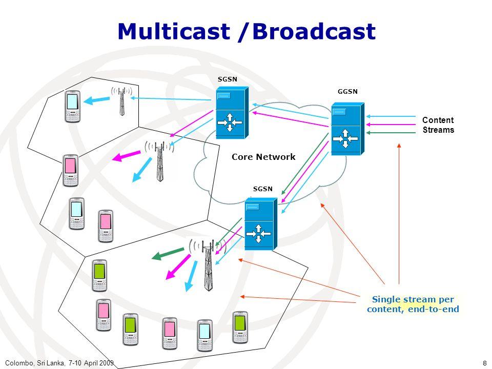 Colombo, Sri Lanka, 7-10 April 2009 8 Multicast /Broadcast Core Network SGSN GGSN Single stream per content, end-to-end Content Streams