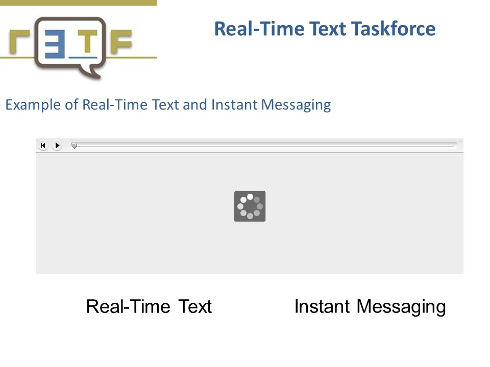 Example of Real-Time Text and Instant Messaging Real-Time Text Taskforce Real-Time Text Instant Messaging