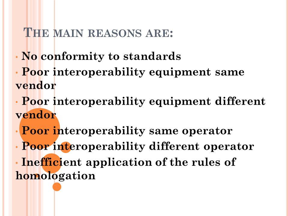 T HE MAIN REASONS ARE : No conformity to standards Poor interoperability equipment same vendor Poor interoperability equipment different vendor Poor i