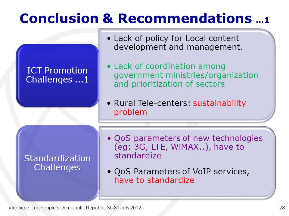 Conclusion & Recommendations …1 Lack of policy for Local content development and management.
