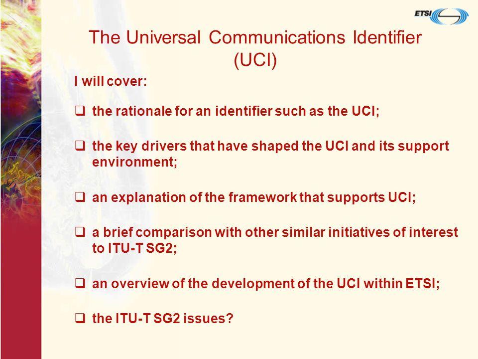 Relationship between UCI elements