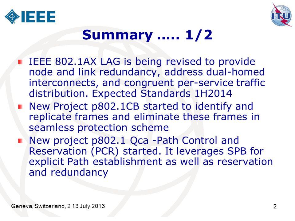Geneva, Switzerland, 2 13 July 2013 2 Summary …..