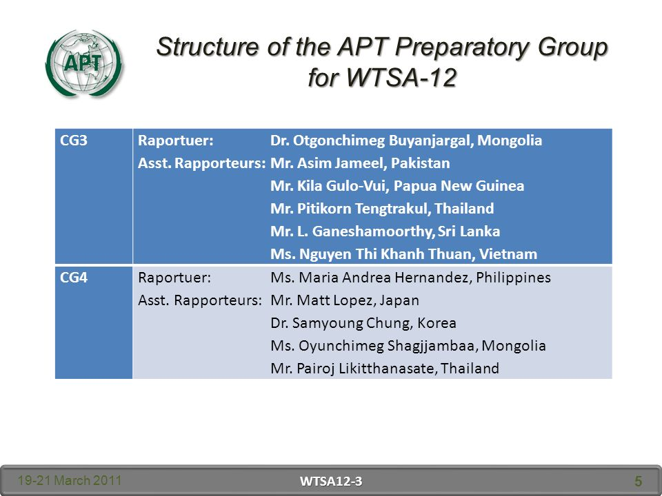 Structure of the APT Preparatory Group for WTSA March 2011 WTSA CG3 Raportuer: Dr.