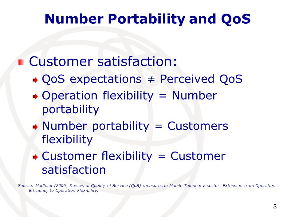 Number Portability and QoS Customer satisfaction: QoS expectations Perceived QoS Operation flexibility = Number portability Number portability = Custo