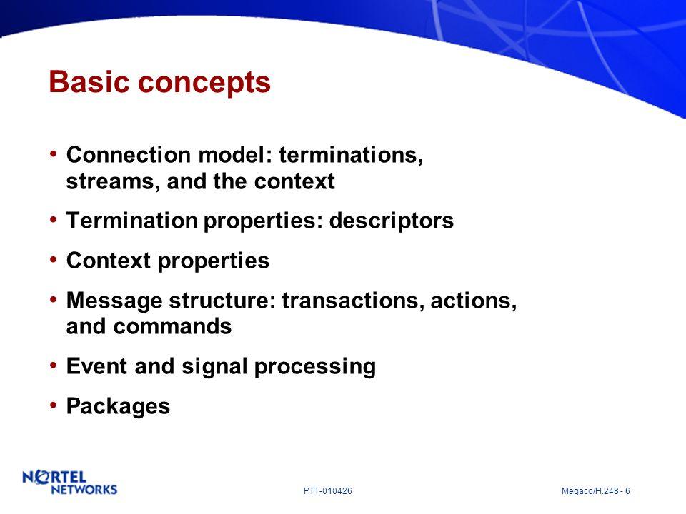PTT-010426 Megaco/H.248 - 6 Basic concepts Connection model: terminations, streams, and the context Termination properties: descriptors Context proper