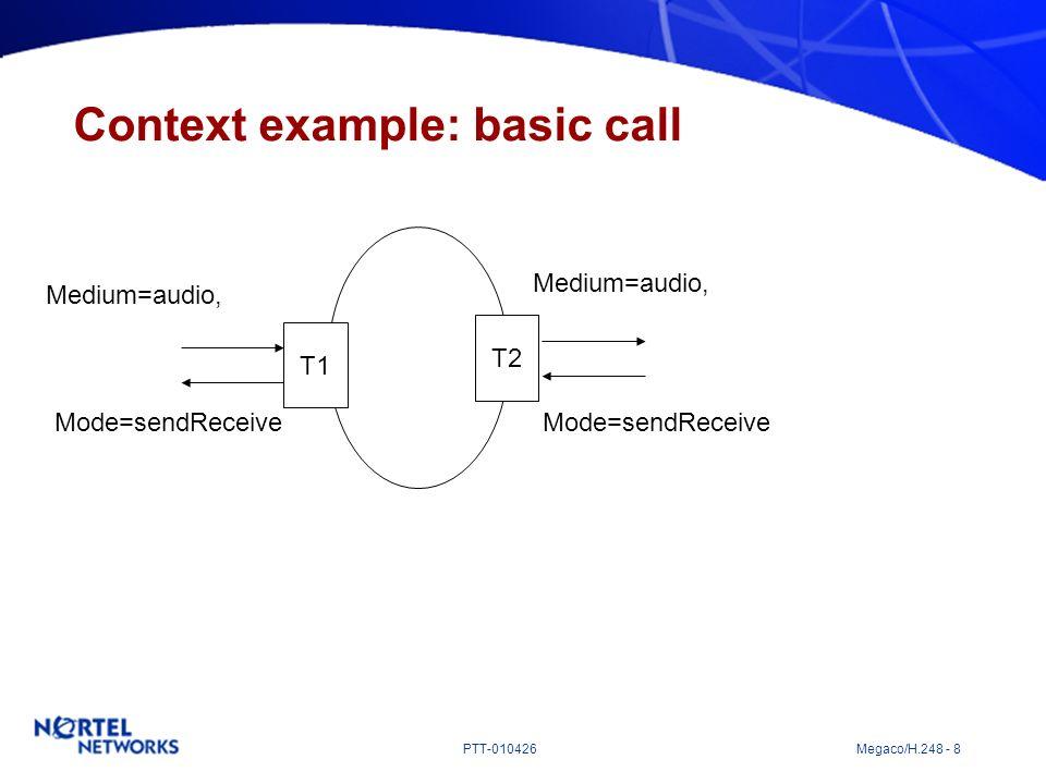 PTT-010426 Megaco/H.248 - 8 Context example: basic call T1 T2 Medium=audio, Mode=sendReceive Medium=audio, Mode=sendReceive