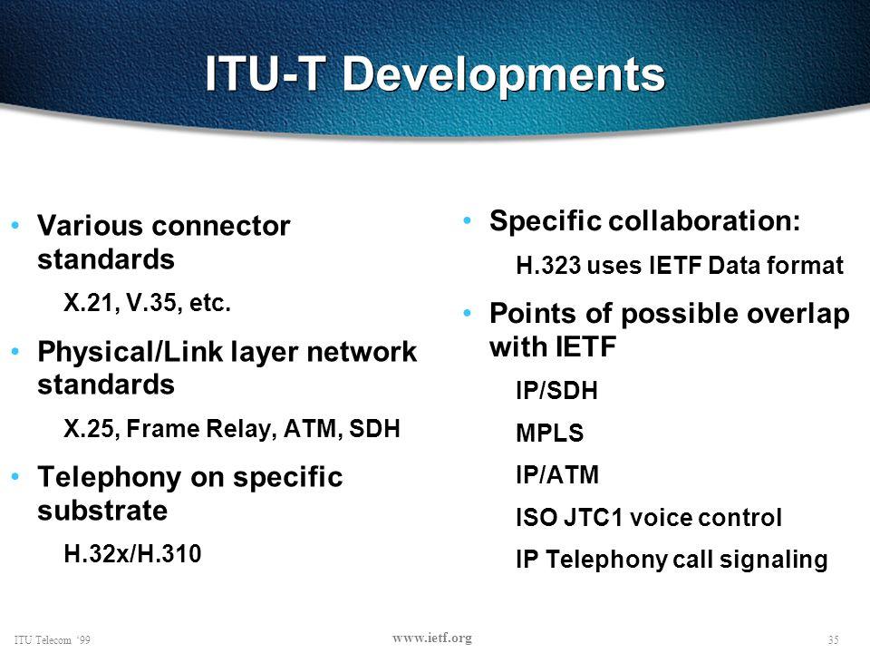 35ITU Telecom 99 www.ietf.org ITU-T Developments Various connector standards X.21, V.35, etc.