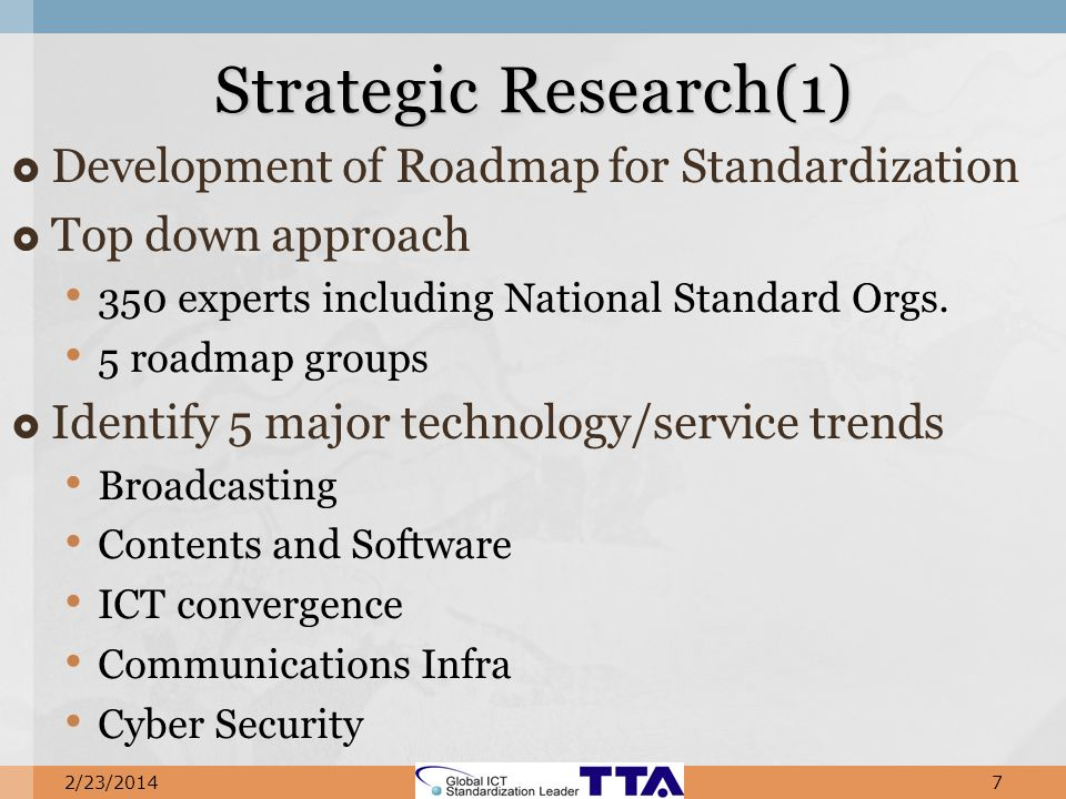 Development of Roadmap for Standardization Top down approach 350 experts including National Standard Orgs.