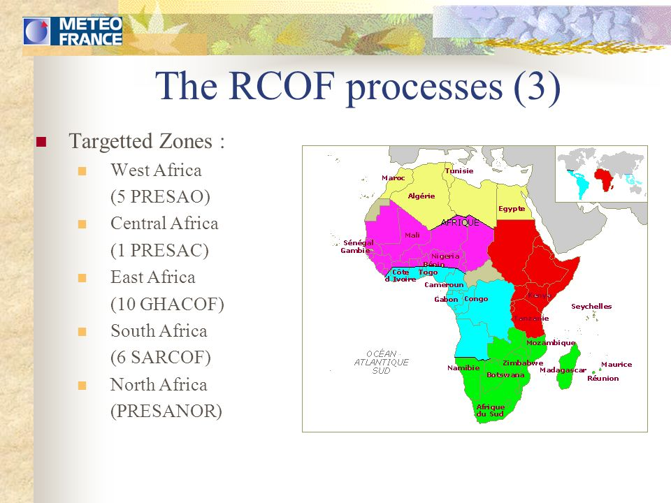 The forecasting method Oceanic key zones Central/East Pacific (Niño 3 & 3.4 boxes), Atlantic (including the Atlantic dipole), Guinean Gulf Indian Ocean Regions depending of the features of the rainy season in Africa.