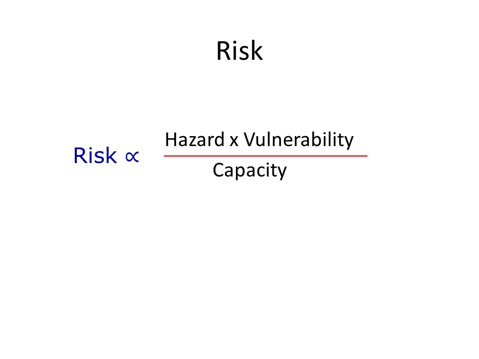 Risk Hazard x Vulnerability Capacity Risk