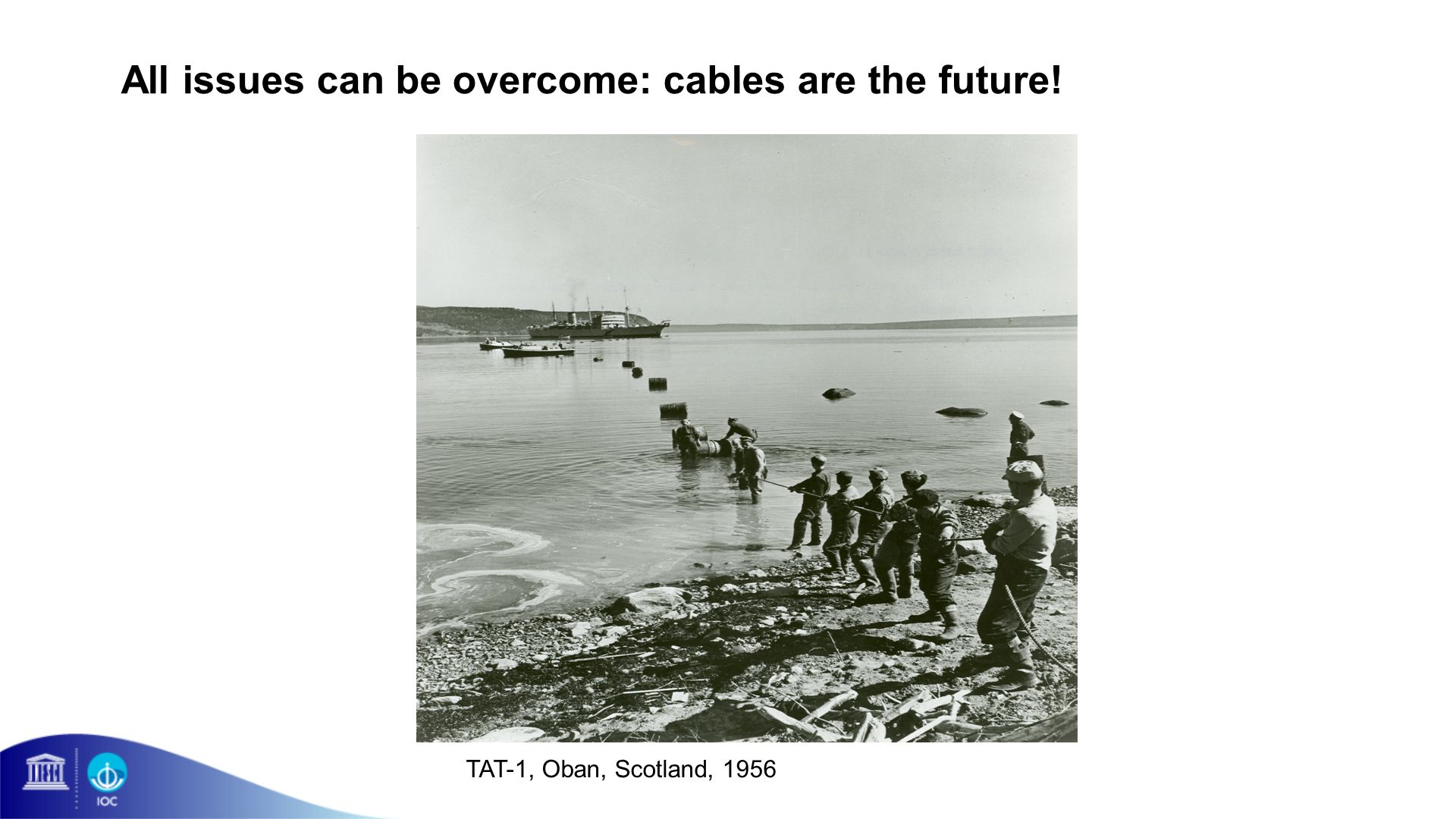 All issues can be overcome: cables are the future! TAT-1, Oban, Scotland, 1956