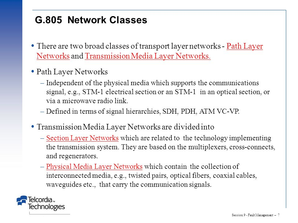 Session 9 - Fault Management – 8 G.805 View Of Layer Relationships - Bi-directional Transmission AP TCP CP Link Connection Trail Server Layer Network Client Layer Network Subnetwork Connection = Adaptation Function= Trail Termination Function= Subnetwork Connection Link Connection Network Connection CP = Connection Point TCP = Termination Connection Point AP = Access Point