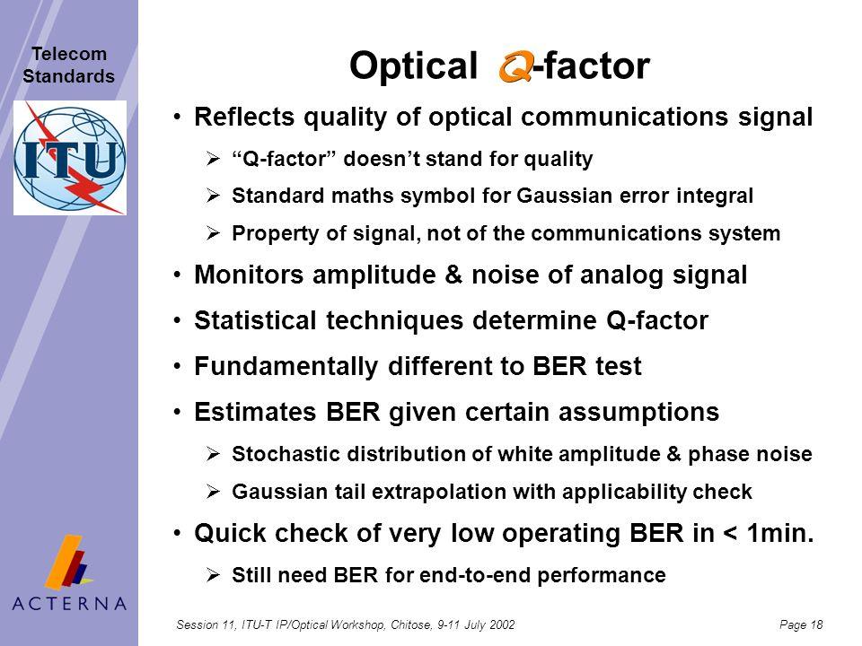 Session 11, ITU-T IP/Optical Workshop, Chitose, 9-11 July 2002Page 17 Telecom Standards Bit Errors - factor measurement< 1 Minute Testing Challenge Op