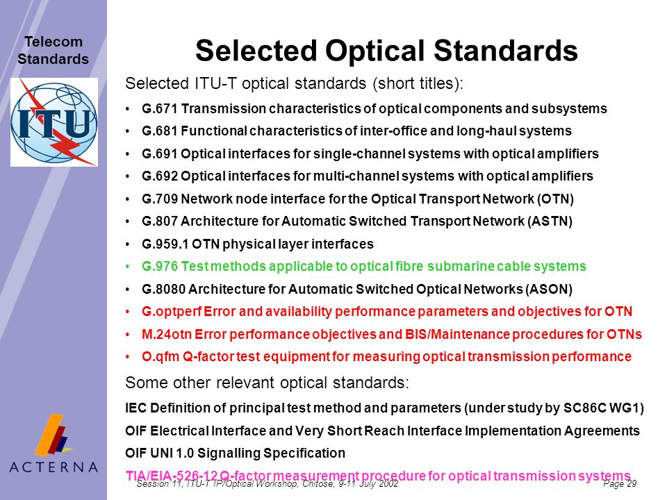 Session 11, ITU-T IP/Optical Workshop, Chitose, 9-11 July 2002Page 28 Telecom Standards Optical sub-networks OCCOADM OCh Link Connection Digital Trans